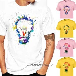 men t shirts 3d graphics 2021 - 100% Cotton Men's T-Shirts Bulb 3D Print T Shirt Casual O-Neck Short Sleeve Male Funny Top Graphic Tees Men Streetwear Cool 210420