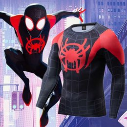 Wholesale miles morales for sale - Group buy 2021 News the Mile Morales Cosplay Premium d Printed Costume Compression T shirt Finess Gym Smoking Top