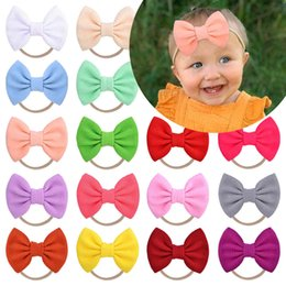 bandana hair bow UK - 1 piece baby nylon soft bandana solid color elastic bows for girls party wholesale decoration diy hair accessories