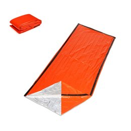 Discount outdoor tent pink Outdoor Emergency Sleeping Bag Thermal Waterproof PE Aluminium Film Lightweight Portable First Aid Blanke Camping Survival Gear 805 Z2