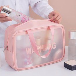 Discount women large bags Transparent Makeup Bag Women Big Travel Organizer Large Capacity Cosmetic Storage Hand Clear Bags & Cases