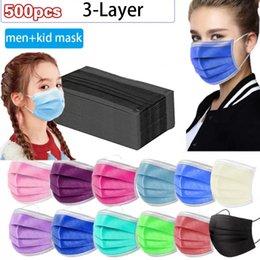 Wegwerpmasker 500 stks 3-laags bescherming en persoonlijke gezondheid met Earloop Mouth Sanitair Gezichtsmaskers Kid Maskers Gratis Epacket