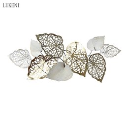 Discount handmade decorations for room European Handmade Wrought Iron Three-dimensional Wall Creative Leaf Metal Living Room Background Decoration Pendant 210414
