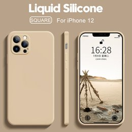 Wholesale iphone 8 colors resale online - Original Square Liquid Silicone Phone Cases For iPhone Pro Max Mini XS X XR S Plus SE Thin Soft Cover Candy Case colors