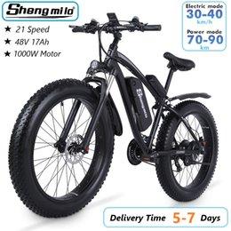US Shengmilo MX02S 1000W Adult Electric Mountain Bike 17Ah 48V Li-ion City Fat Tire Bicycle 40km h E-bike Beach Cruiser