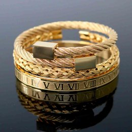 Handmade Jewelry Wholesale Stainless Steel Hexagonal Square Head Roman Numeral Bracelet Woven Bracelet Gold Titanium Steel Bangle For Men