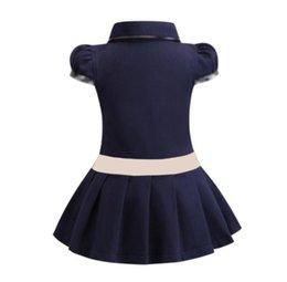 Dziewczynek Sukienka Lapel College Wiatr Krótki Rękaw Plisowany Polo Koszula Spódnica Dzieci Dorywczo Designer Odzież Odzież Dla Dzieci