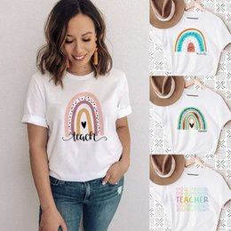 short t shirt quotes UK - Teach Love Rainbow Print White T-shirt Teacher Life Short Sleeve Harajuku Aesthetic Women Quotes Gift Graphic T Shirts Clothes