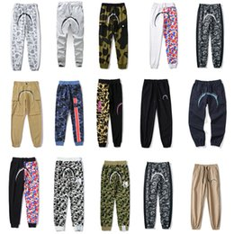 Wholesale hip hop heads resale online - 2021 Womens Pants Casual Mens a bathing ape Sweatpants Hip Hop camouflage stitching Luminous shark head Streetwear