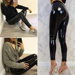 Wholesale wet look black leggings for sale - Group buy Womens Sexy Black Pants Slim Soft Strethcy Shiny Wet Look Faux Leather Vinyl Leggings Trouser Women s Capris