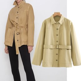 Wholesale trench coat collar up for sale - Group buy wool Autumn female jacket trench unique breasted collar lace up long coat streetwear