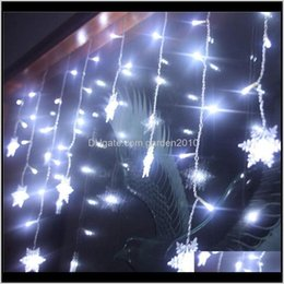 Discount snowflake lighted curtain Decorations Led Snowflake Garland Curtain Designs For Window Home Wedding Party Decoration Christmas Lights 35M Outdoor Indoor 201203 Vyhdj