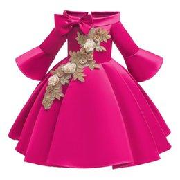 Опт Детские рождественские платья для девочек принцесса цветок свадебное платье детей формальная вечерняя вечеринка чистый красный