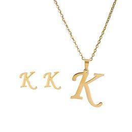 26 letras collares con pendiente de acero inoxidable de acero inoxidable gargantilla de oro colgante inicial collar mujeres cadenas de alfabeto joyería 918 Q2 en venta