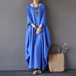 long kaftan dresses robe Canada - Kaftan Womens Women Dress Maxi Summer O Neck Long Sleeve Casual Dresses Spring Cotton Linen Gown Robe Plus Size Large