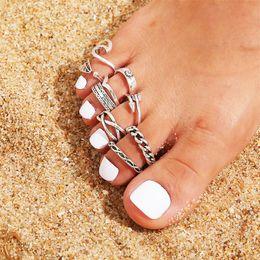 Nouvelle plage creuse jointe géométrique 9 pièces ouverte bague à pied fixe bagues à orteils 218 w2 en Solde