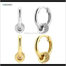 Wholesale Hoop Hie Kikichicc 100 925 Sterling Sier 95Mm Circle Zircon Hoops Rock Punk Piercing Pendiente Sepatate Cz Charm Luxury Fine Jewelry N Xhgai