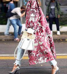Wholesale Women's Floral Pattern Printed Jacket Long Blends Coats Female Elegant Vintage Sleeve Party Woman Winter