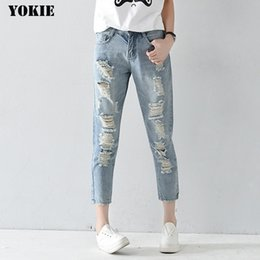 32 plus size women jeans UK - Plus size 25-32 Hole ripped jeans women harem pants loose ankle-length pants Boyfriends For woman Ladies skinny jeans 210331