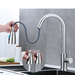 Wholesale Kitchen Faucet Brushed Gold And Multicolor Pull Out Water Mixer Tap Single Handle Rotation Shower Faucets