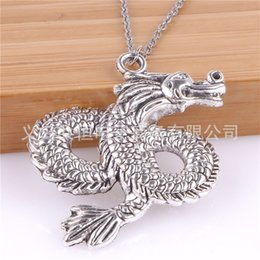 Wholesale dragons resale online - New Fashion China Loong Dragon Pendants Round Cross Chain Short Long Mens Womens Silver Color Necklace Jewelry Gift Q2