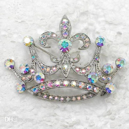 silver brooch costume jewelry UK - Jewelry Wholesale Crown Crystal Wedding Rhinestone 12pcs lot Fashion Brooches Gift Pin Brooch C932 Party Costume Pin Decmd