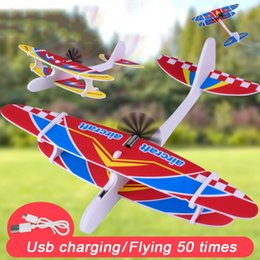 Electric Hand Throwing Glider Plane Outdoor Park Foam Gliding Aircraft Flying Toys For Children Planes Model Toy 0174 on Sale