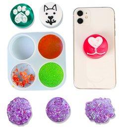 Wholesale Mini Silicone Phone Holder Decor Resin Molds Irregularity Animal Paw Round Bones Shape UV Resin DIY Crystal Epoxy Mold