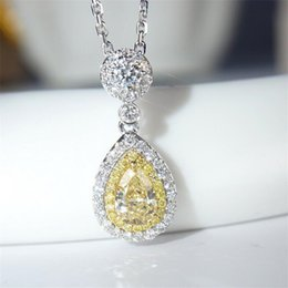 gift deals Australia - Sterling Deal Pear Silver 925 Cut Jewelry Drop Topaz CZ Diamond Water Clavicle Women Luxury Necklace Zircon Pendant Yellow Super Gift Vjsit