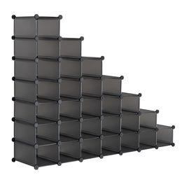 Großhandel 7-tier-Schuh-Rack, Platzrettung 28-Paar-Kunststoffeinheiten, Kabinett-Speicherorganisator, ideal für den Eingang Flur Badezimmer Wohnzimmer grau