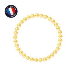 Перлинина круглый пресноводный жемчуг счастливый браслет 56 мм Золотая Женщина женственность # 82 на Распродаже