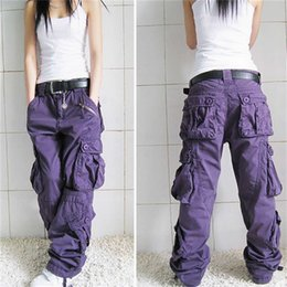 Wholesale large pocket cargo pants resale online - Women Cargo Pants Fashion Large Size Women Loose Multi Pocket Cotton Trousers Spring Autumn Baggy Women Hip Hop Pants