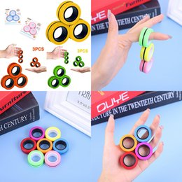 Tornado 3Pcs Finger Ring Fidget Magnet Toys  Fingers Hand Spinner Stacking Toy Set, Magnetic Bracelet Magic for Stress Relief, Anti-Anxiety Autism Kids Adults Teen on Sale