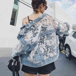 Wholesale women jeans patchwork lace floral for sale - Group buy Streetwear Lace Patchwork Jean Hole Denim Jacket Coat Women Oversized Long Sleeve Perspective Flower Embroidery Loose Overcoat