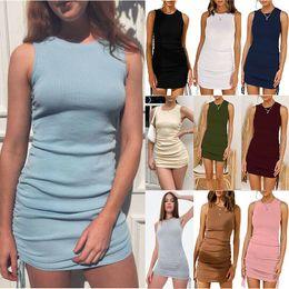 Damen Sommer Sexy Midi Kleider ärmelloser Rundhals-Minikleid Kordelzug-Tasche Hüftkleider im Angebot