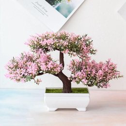 Discount pine tree bonsai Artificial Plants Pine Bonsai Small Tree Pot Fake Flowers Potted Ornaments For Home Decoration El Garden Decor 2021 Decorative & Wreaths