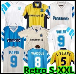 Discount soccer jerseys marseille 90 91 93 98 99 Olympique Retro Marseille Commemorate Shirt DESCHAMPS PAPIN BOLI DESAILLY Soccer Jersey VOLLER Marseille Football PIRES