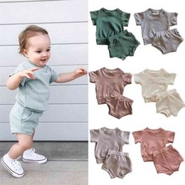 baby threads clothing NZ - Baby Clothing Toddler Girls Short Sleeveless Solid Thread Camisole Suspender Vest Tops+Triangle Shorts Suit Outfits Fashion Baby 2PCS Set ZY