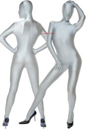Discount halloween outfit men Silver Gray Lycra Spandex Catsuit Costume Unisex Full Outfit Sexy Women Men Bodysuit Costumes Back Zipper Halloween Party Fancy Dress Cosplay Suit M043
