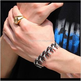 Discount copper cones Link Chain Yishop4U Twotone Cone Stud Spikes Rivet Copper Punk Rock Bracelets Bangles For Women Men Iced Out Cubic Zirconia Bracelet H 6N9Of