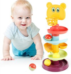 Children's fun track Spin Roll Ball Toys glider tower stack hand catch baby early education educational toysTrack Building Blocks Plastic Funnel Slide Toy DHL Free on Sale