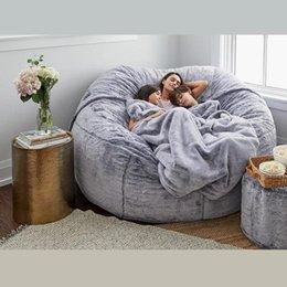 Vente en gros Chaise de sac de haricot de meubles de camp avec fourrure à fourrure fourrure lavable canapé de grande taille lavable et goutte de chaise longue géante