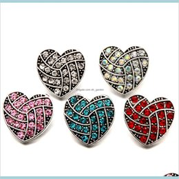 Wholesale 18Mm Love Heart Snap Buttons Buckle Fit For Charm Bracelets Necklace Jewelry Diy Accessories Qmmim Clasps Hooks Ry7Ho