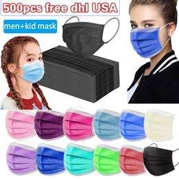 Großhandel USA Kostenlose DHL-Einweg-Maske 500pcs 3-Layer-Schutz und persönliche Gesundheit mit Holousinen-Mund-Sanitär-Gesichtsmasken Kindermasken