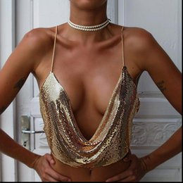 Wholesale gold bralette for sale - Group buy Elegant Metal Crop Top Summer Women Tanks Sexy Club Backless Bralette Beach Halter Gold Sequined Party Tank Camisole