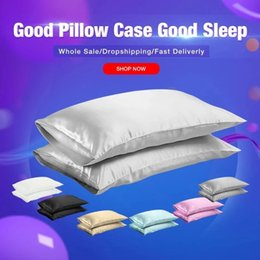 In Stock Silk Pillowcase King Queen Size Home Hotel Travel Hair Face Feelingless High Quality Pillow Cover on Sale