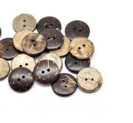 "100PCs Brown Coconut Shell 2 Holes Wood Sewing Buttons Scrapbooking 20mm(3 4"")Dia. (B18437) 11 J2 on Sale"