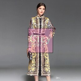 runway printed silk dress Australia - Runway Dresses The latest high-quality long-sleeved printed silk dress in Europe and America KO61