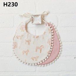 Wholesale Newborn Burp Cloths Bibs Baby Tassel Floral Bandana Printed INS Fashion Waterproof Pure Cotton Saliva Scarves Towel DWB7151
