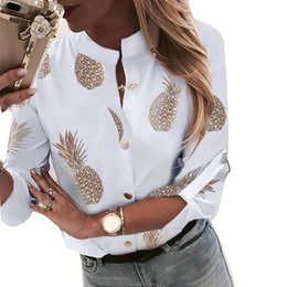 shirts shops UK - Ladies Daily Party Fashion Women Shirts Autumn Pineapple Printed Button Casual Soft V Neck Durable Long Sleeve Shopping